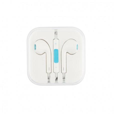 Ecouteurs Blanc+Bleu modèle HEADSET01 1.2M de longueur